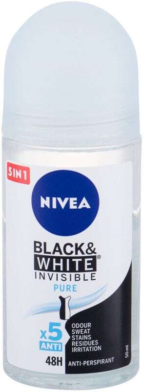 Nivea Invisible For Black & White Pure 48h Antiperspirant 50ml (Roll-On - Alcohol Free)