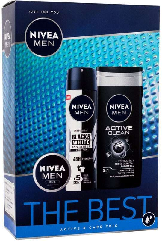 Nivea Men Active Shower Gel 250ml Combo: Anti-perspirant Men Invisible For Black & White Original 150 Ml + Shower Gel Men Active Clean 250 Ml + Universal Men Creme 30 Ml