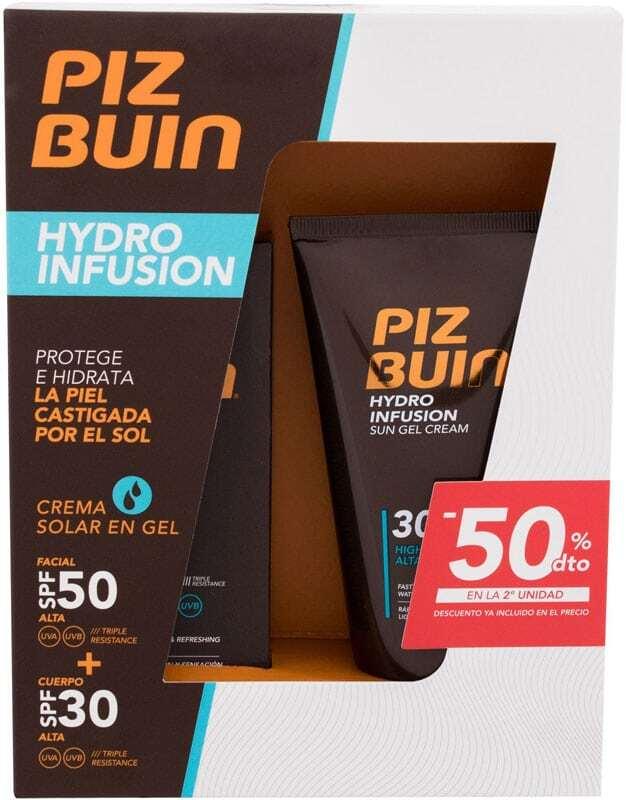 Piz Buin Hydro Infusion Sun Gel Cream Sun Body Lotion 150ml Combo: Hydro Infusion Sun Gel Cream SPF30 150 Ml + Hydro Infusion Sun Gel Cream Face SPF50 50 Ml (Waterproof)