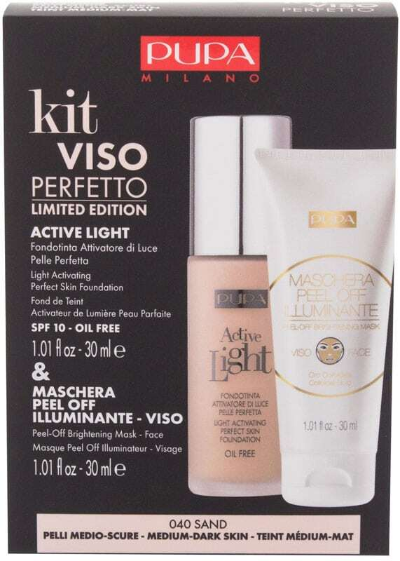 Pupa Active Light Perfect Skin SPF10 Makeup 040 Sand 30ml Combo: Active Light Perfect Skin Foundation SPF10 30 Ml + Maschera Peel-Off Brightening Mask 30 Ml