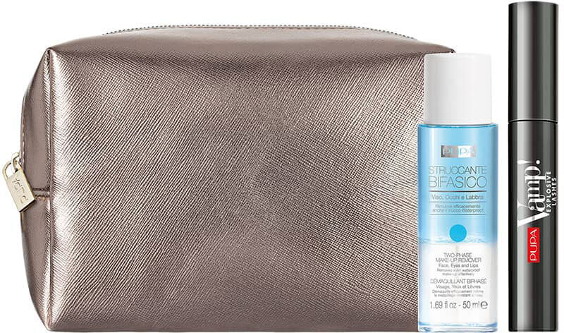 Pupa Vamp! Explosive Lashes Mascara 110 Explosive Black 12ml Combo: Mascara Vamp! Explosive Lashes 12 Ml + Struccante Bifasico Two-Phase Make-Up Remover 50 Ml + Cosmetic Bag