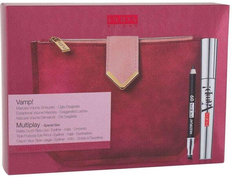 Pupa Vamp! Mascara 100 Extra Black 9ml Combo: Mascara Vamp! 9 Ml + Eye Pencil Multiplay 0,8 G 09 Deep Black + Bag