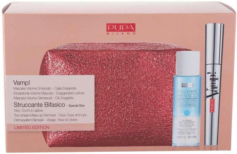 Pupa Vamp! Mascara 100 Extra Black 9ml Combo: Mascara Vamp! 9 Ml + Struccante Bifasico Two-Phase Make-Up Remover 50 Ml + Cosmetic Bag