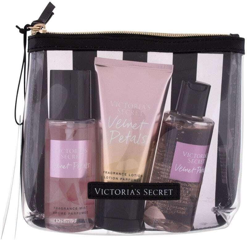 Victoria´s Secret Velvet Petals Body Spray 75ml Combo: Nourishing Body Spray 75 Ml + Body Lotion 75 Ml + Shower Gel 89 Ml + Cosmetic Bag