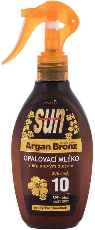Vivaco Sun Argan Bronz Suntan Lotion SPF10 Sun Body Lotion 200ml (Bio Natural Product - Waterproof)
