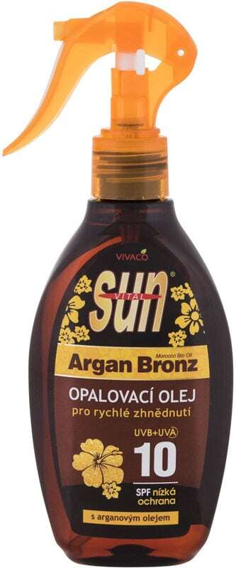 Vivaco Sun Argan Bronz Suntan Oil SPF10 Sun Body Lotion 200ml (Bio Natural Product - Waterproof)