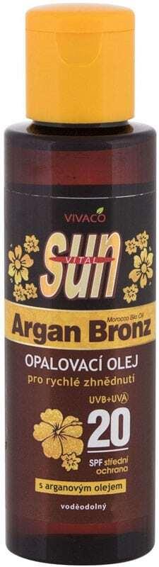 Vivaco Sun Argan Bronz Suntan Oil SPF20 Sun Body Lotion 100ml (Bio Natural Product - Waterproof)