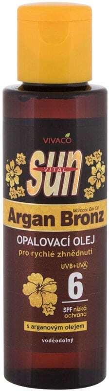 Vivaco Sun Argan Bronz Suntan Oil SPF6 Sun Body Lotion 100ml (Bio Natural Product - Waterproof)