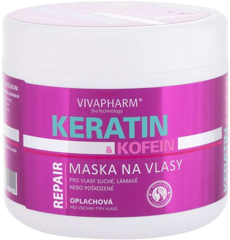 Vivaco VivaPharm Keratin & Caffeine Hair Mask 600ml (Brittle Hair - Damaged Hair - Dry Hair)