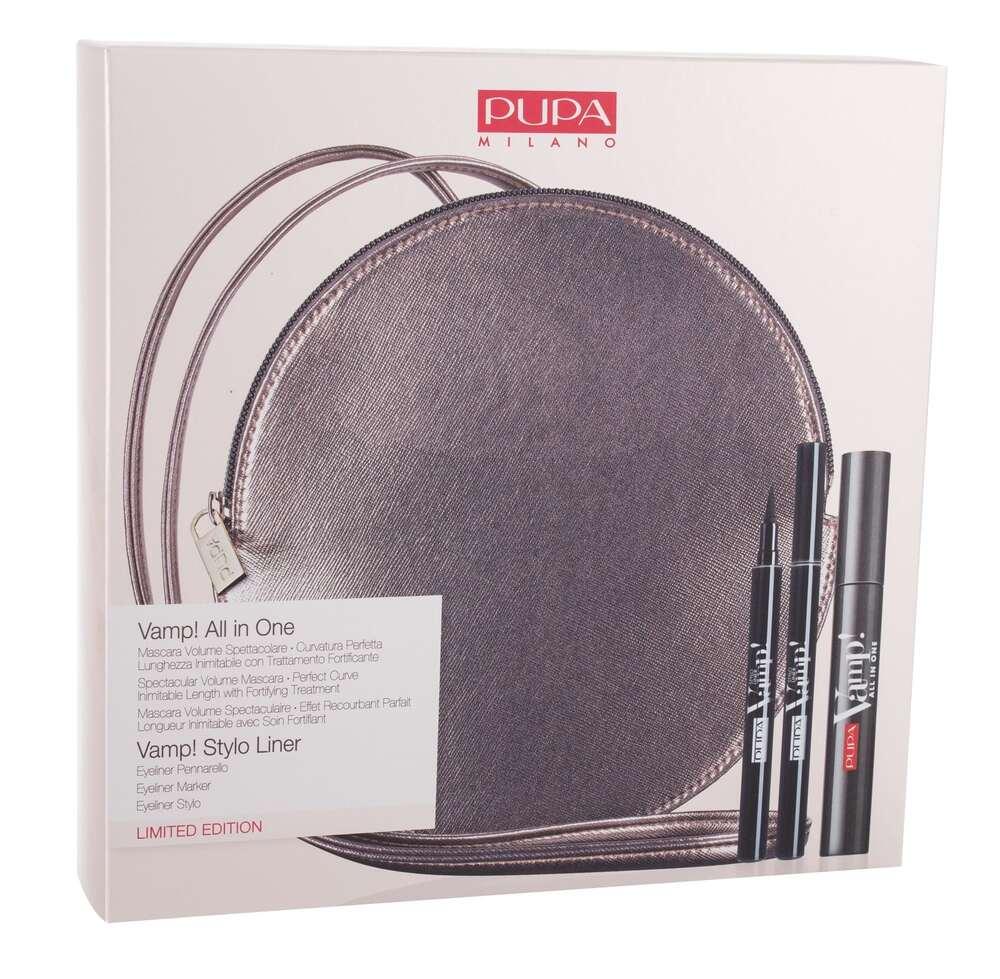 Pupa Vamp! All In One Mascara 101 Extra Black 9ml Combo: Mascara Vamp! All In One 9 Ml + Eye Pencil Vamp! Stylo Liner 1,5 Ml 100 Extra Black + Bag