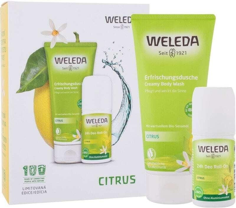 Weleda Citrus Shower Cream 200ml Combo: Citrus Creamy Body Wash 200 Ml + Citrus 24h Deo Roll-On 50 Ml (Bio Natural Product)
