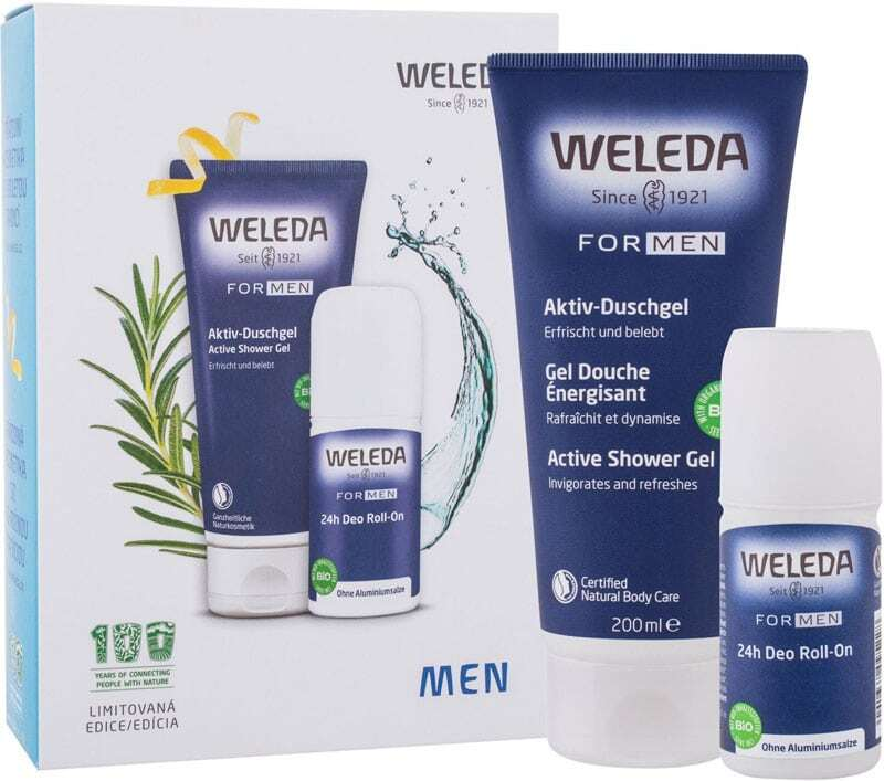 Weleda Men Shower Gel 200ml Combo: Men Active Shower Gel 200 Ml + Men 24h Deo Roll-On 50 Ml (Bio Natural Product)