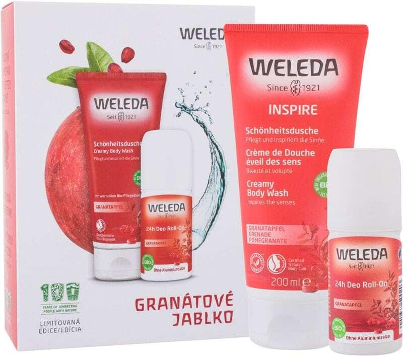 Weleda Pomegranate Shower Cream 200ml Combo: Pomegranate Creamy Body Wash 200 Ml + Pomegranate 24h Deo Roll-On 50 Ml (Bio Natural Product)