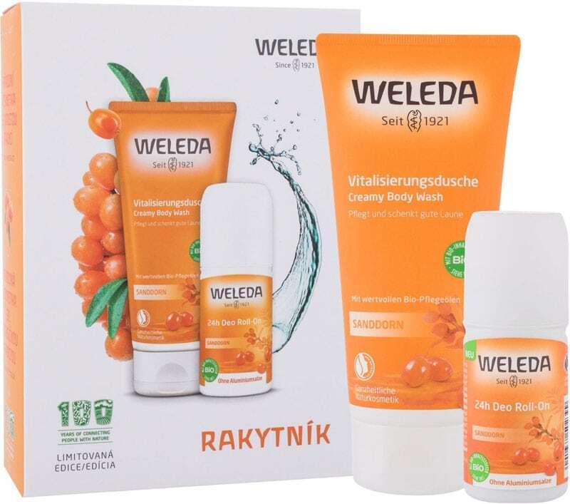 Weleda Sanddorn Shower Cream 200ml Combo: Sanddorn Creamy Body Wash 200 Ml + Sanddorn 24h Deo Roll-On 50 Ml (Bio Natural Product)
