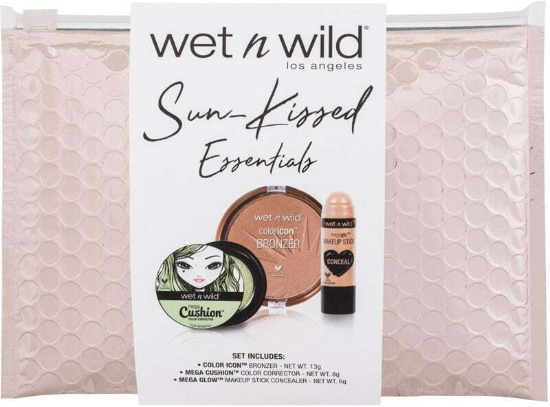 Wet N Wild Sun-Kissed Essentials Corrector Green 8gr Combo: Concealer Mega Cushion 8 G + Bronzer Color Icon 13 G Ticket To Brazil + Concealer Mega Glo 6 G Follow Your Bisque + Cosmetic Bag