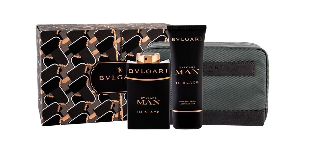 Bvlgari Man In Black Eau De Parfum 100ml Combo Edp 100 Ml + Aftershave Balm 100 Ml + Cosmetic Bag