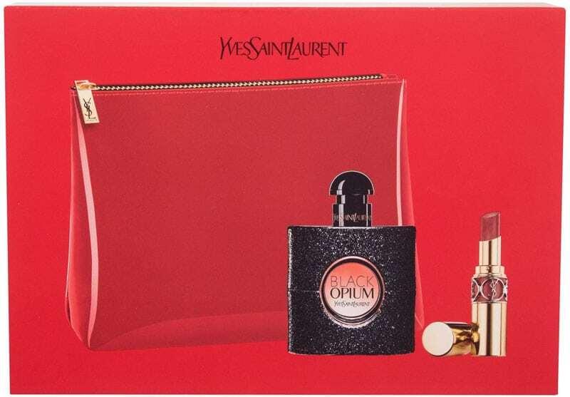 Yves Saint Laurent Black Opium Eau de Parfum 50ml Combo: Edp 50 Ml + Lip Stick Rouge Volupté Shine 3,2 G No 86 + Cosmetic Bag