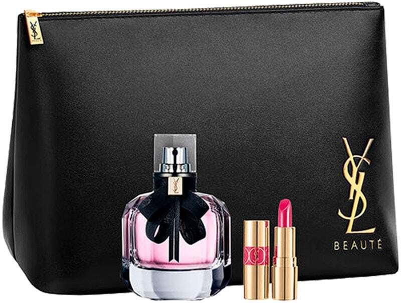 Yves Saint Laurent Mon Paris Eau de Parfum 90ml Combo: Edp 90 Ml + Mascara Volume Effet Faux Cils The Curler 2 Ml No.1 + Lipstick Rouge Volupté Shine 1,4 Ml No.49 + Cosmetic Bag