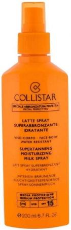 Collistar Special Perfect Tan Supertanning Moisturizing Milk Spray SPF15 Sun Body Lotion 200ml (Waterproof)