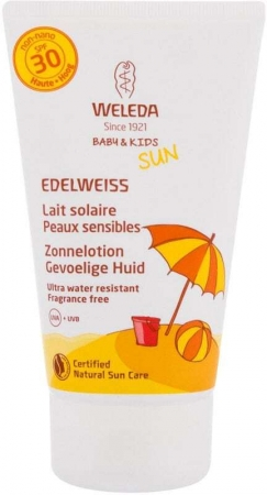 Weleda Baby & Kids Sun Edelweiss Sunscreen Sensitive SPF30 Sun Body Lotion 150ml (Bio Natural Product - Waterproof)