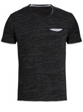 T-Shirt με Τσέπη και Αντιθέσεις - Ανθρακί