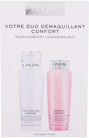 Lancôme Duo Confort Cleansing Milk 400ml Combo: Lait Galatée Confort Comforting Makeup Remover Milk 400 Ml + Tonique Confort Re-Hydrating Comforting Toner 400 Ml