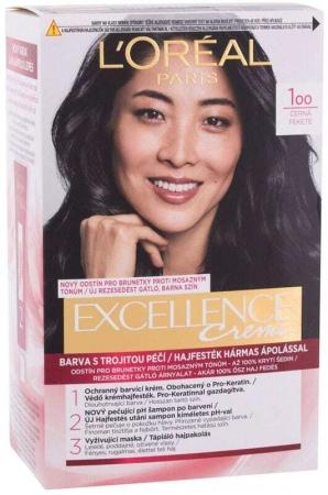 L´oréal Paris Excellence Creme Triple Protection Hair Color 100 Black 48ml (Colored Hair - All Hair Types)