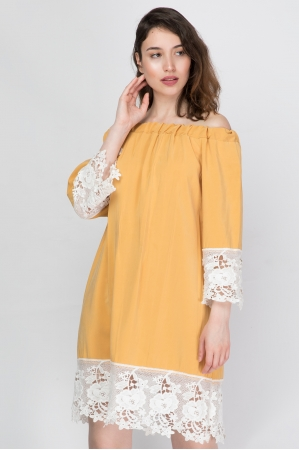 Off The Shoulder Dress With Lace Details