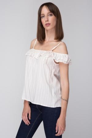 Cold Shoulder Stripped Shirt