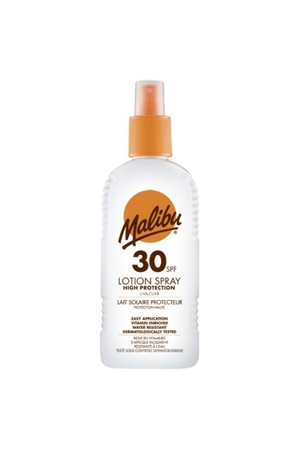 Malibu Lotion Spray Sun Body Lotion 200ml Waterproof Spf30
