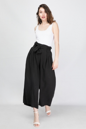 Wide Leg Belted Trousers
