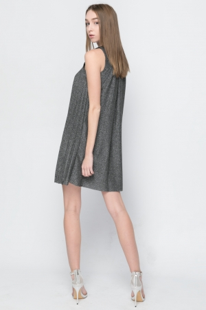 COZY Silver Pleated Dress