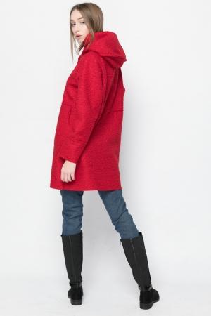 Μπουκλέ Παλτό Oversized με Κουκούλα