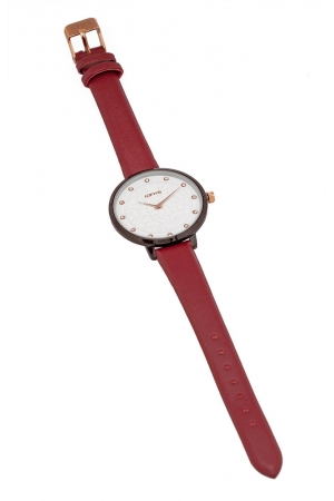 LOFTY'S Rosalinda Crystals Red Leather Strap