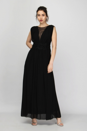 Lace Incert Pleated Maxi Dress