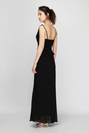 Chiffon V Neck Empellished Maxi Dress