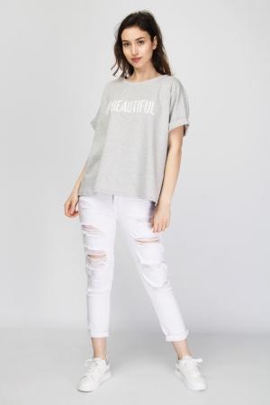 """Oversized """"#Beautiful"""" Print T-Shirt"""