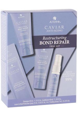 Alterna Caviar Anti-Aging Restructuring Bond Repair Shampoo 40ml Combo: Shampoo 40 Ml + Conditioner 40 Ml + Heat Protection Spray 25 Ml + Sealing Serum 7 Ml (Damaged Hair)