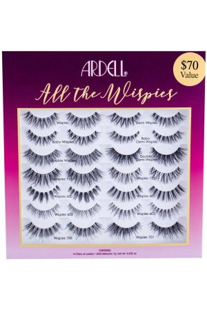 Ardell Wispies All The Wispies False Eyelashes Black 14pc Combo: Lashes 14 Pairs + Lash Glue Duo 1 G