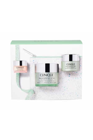 Clinique Superdefense Day Cream 50ml Spf20 Combo: Daily Moisturizing Spf20 50 Ml + Night Moisturizing Superdefence Night 15 Ml + Eye Cream All About Eyes 5 Ml + Cosmetic Bag (Mixed - Very Dry - For All Ages)