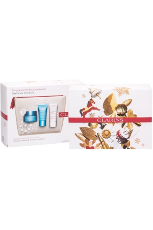 Clarins Hydra-Essentiel Day Cream 50ml Combo: Daily Facial Care 50 Ml + Facial Mask SOS Hydra 15 Ml + Gentle Foaming 30 Ml + Cosmetic Bag (For All Ages)