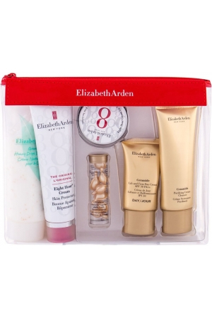 Elizabeth Arden Eight Hour Cream Skin Protectant Travel Essentials Kit Body Balm 50ml Combo: Body Balm 50 Ml + Skin Serum 3,2 Ml + Lip Balm 13 Ml + Day Cream 15 Ml + Cleansing Cream 50 Ml + Body Cream 100 Ml + Cosmetic Bag