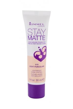 Rimmel London Stay Matte Liquid Mousse Foundation Makeup 30ml 010 Light Porcelain (Kremova - Stredni)