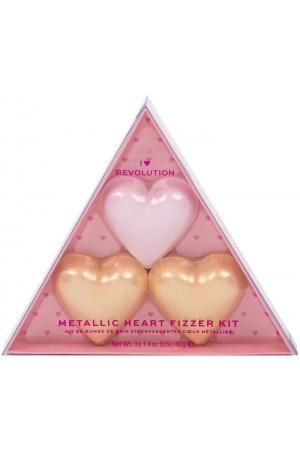 Makeup Revolution London I Heart Revolution Metallic Heart Fizzer Bath Foam Rose 40gr Combo: Heart Fizzer 1 X 40 G + Heart Fizzer 2 X 40 G Shea Butter