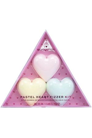 Makeup Revolution London I Heart Revolution Pastel Heart Fizzer Bath Foam Strawberry 40gr Combo: Heart Bath Fizzer 40 G + Heart Bath Fizzer 40 G Passion Fruit + Heart Bath Fizzer 40 G Lemon