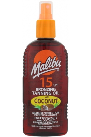 Malibu Bronzing Tanning Oil Coconut SPF15 Sun Body Lotion 200ml (Waterproof)