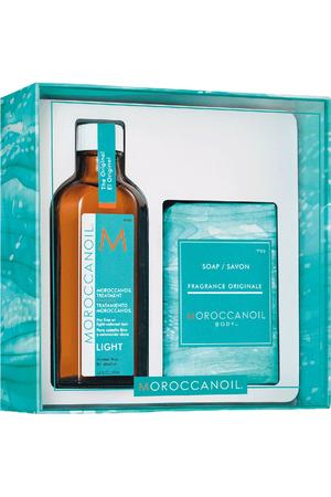 Moroccanoil Treatment Light Hair Oils and Serum 100ml Combo: Hair Oil 100 Ml + Soap Body Fragrance Originale 200 G (Blonde Hair - Fine Hair - Grey Hair)