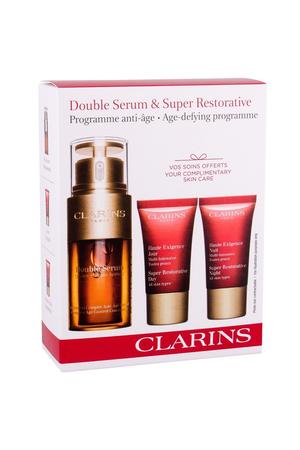 Clarins Double Serum Skin Serum 30ml Super Restorative Set Combo Facial Serum 30 Ml + Daily Facial Care 15 Ml + Night Facial Care 15 Ml (All Skin Types - Mature Skin)