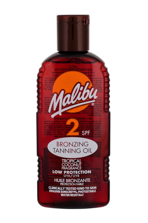 Malibu Bronzing Tanning Oil Sun Body Lotion 200ml Waterproof Spf2