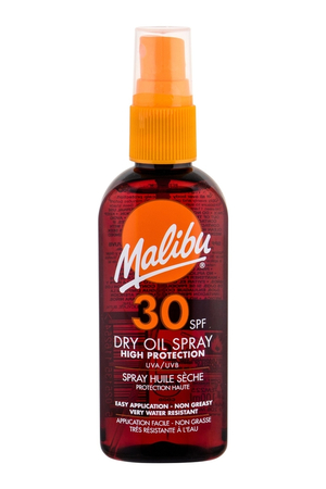 Malibu Dry Oil Spray Sun Body Lotion 100ml Waterproof Spf30